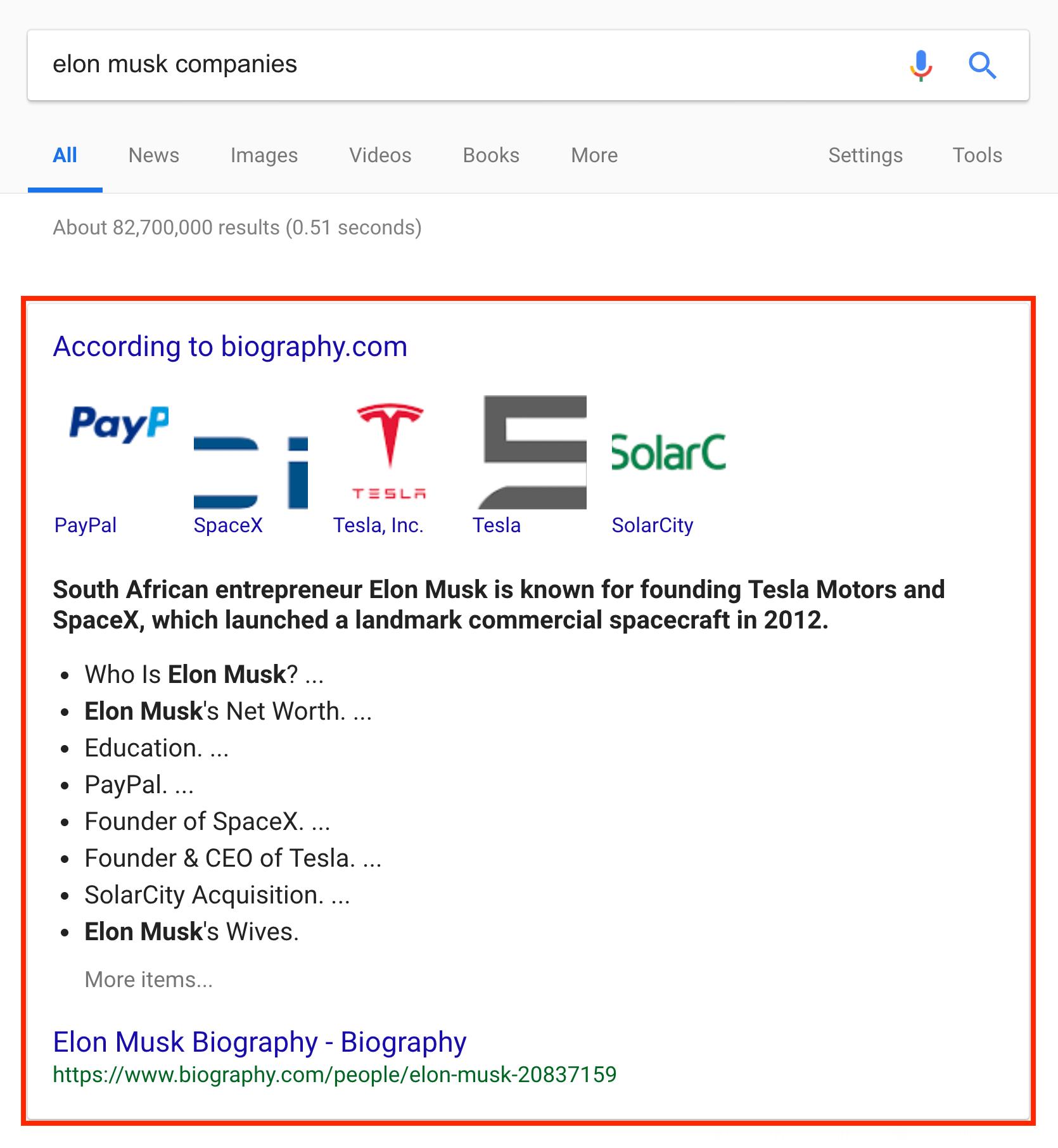 Google Wiki result